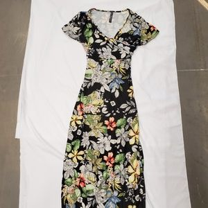 Rags And Couture Maxi Dress Black Floral Print XL